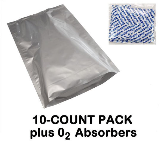 Picture of 5 Gallon 7-MIL Gusseted Zip Seal Mylar Bags (10-COUNT) plus 2000 CC Oxygen Absorbers