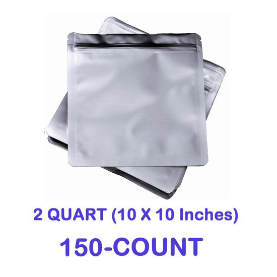 Picture of 2 Quart 7 Mil Mylar Zip Lock Bags (150-COUNT)