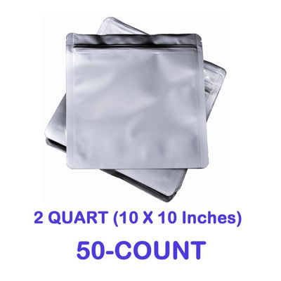 Picture of 2 Quart 7 Mil Mylar Zip Lock Bags (50-COUNT)