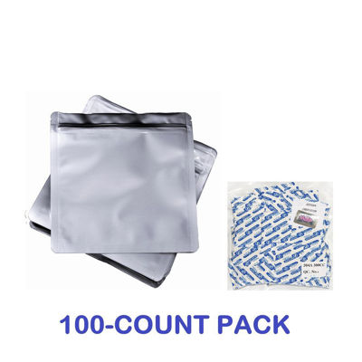 Picture of 2 Quart Mylar Zip Lock Bags + 300 cc Oxygen Absorbers (100-COUNT)