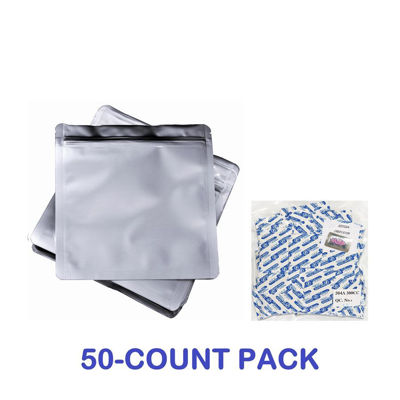 Picture of 2 Quart Mylar Zip Lock Bags + 300 cc Oxygen Absorbers (50-COUNT)