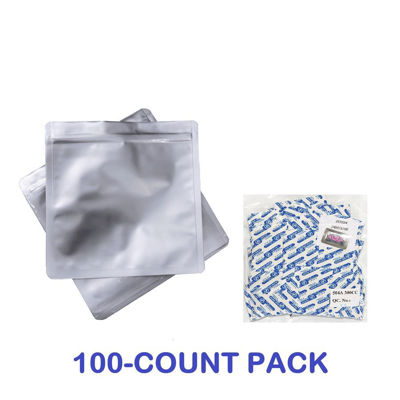 Picture of 1 Quart Mylar Zip Lock Bags + 300 cc Oxygen Absorbers (100-COUNT)