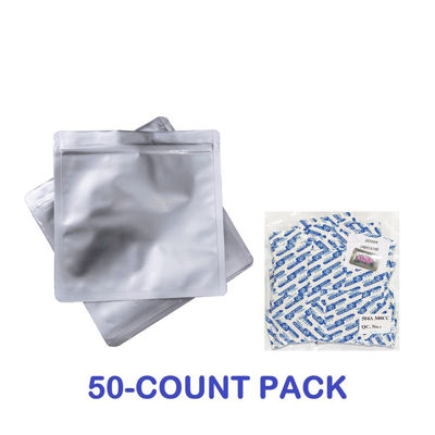 Picture of 1 Quart Mylar Zip Lock Bags + 300 cc Oxygen Absorbers (50-COUNT)