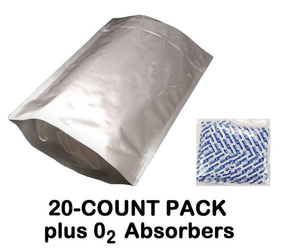 Picture of 2.5 Gallon 7-MIL Gusseted Zip Lock Mylar Bags (20-COUNT) plus 1000 CC Oxygen Absorbers