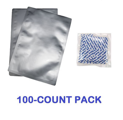 Picture of 2 Quart 7-Mil Standard Mylar Bags plus 300 CC Oxygen Absorbers (100-COUNT)
