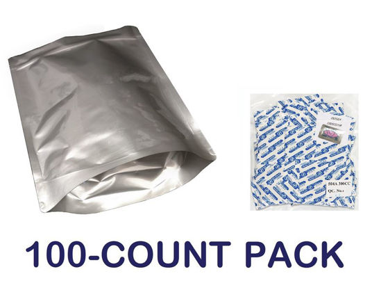 Picture of 1 Gallon 7-Mil Gusseted Zip Lock Mylar Bag plus 300 CC Oxygen Absorbers (100-COUNT)