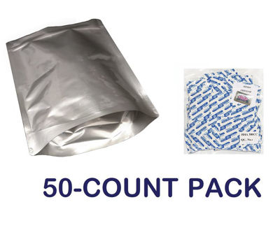 Picture of 1 Gallon 7-Mil Gusseted Zip Lock Mylar Bag plus 300 CC Oxygen Absorbers (50-COUNT)