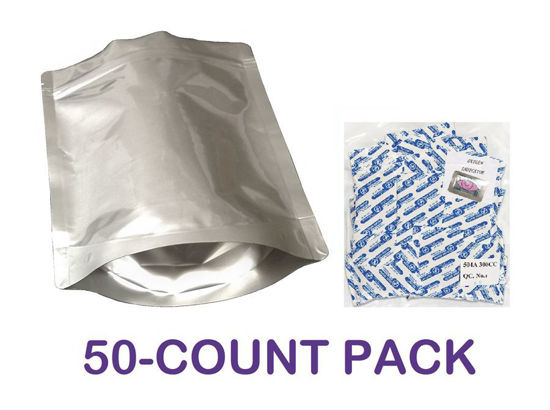 Picture of 1 Quart 7-Mil Gusseted Zip Lock Mylar Bag plus 300 CC Oxygen Absorbers (50-COUNT)