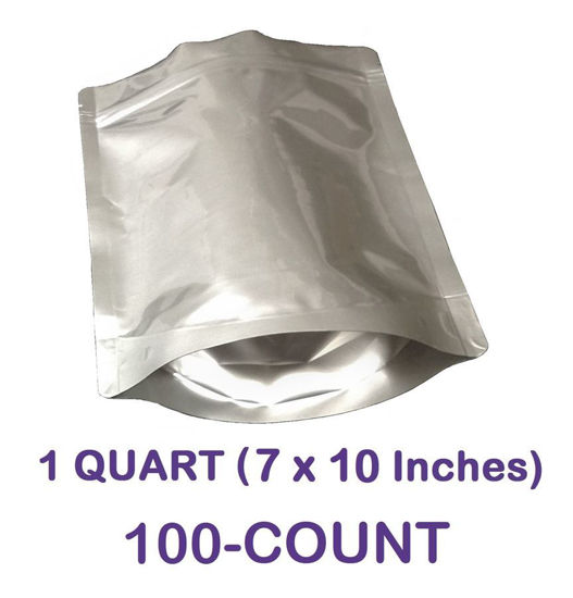 Picture of 1 Quart 7-Mil Gusseted Zip Lock Mylar Bag (100-COUNT)
