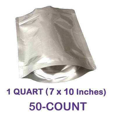 Picture of 1 Quart 7-Mil Gusseted Zip Lock Mylar Bag (50-COUNT)