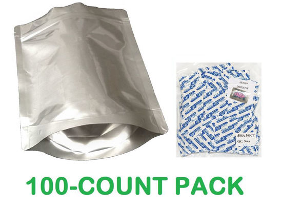 Picture of 2 Quart 7-Mil Gusseted Zip Lock Mylar Bag plus 300 CC Oxygen Absorbers (100-COUNT)