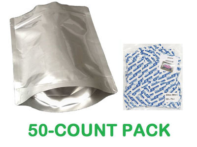 Picture of 2 Quart 7-Mil Gusseted Zip Lock Mylar Bag plus 300 CC Oxygen Absorbers (50-COUNT)