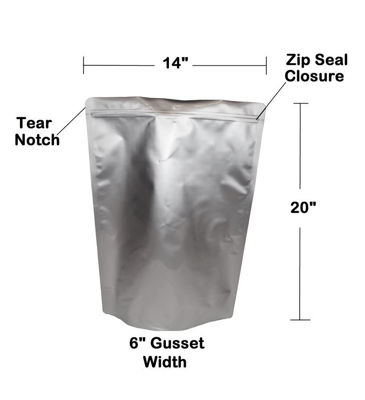 Picture of 2.5 Gallon 7-Mil Gusseted Zip Seal Mylar Bag plus 1000 CC Oxygen Absorbers (20-COUNT)
