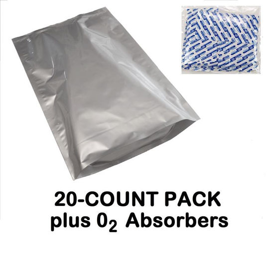 Picture of 5 Gallon 7-Mil Gusseted Zip Seal Mylar Bag plus 2000 CC Oxygen Absorbers (20-COUNT)