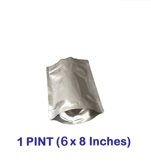 Picture of 1 Pint 7-Mil Gusseted Zip Lock Mylar Bag