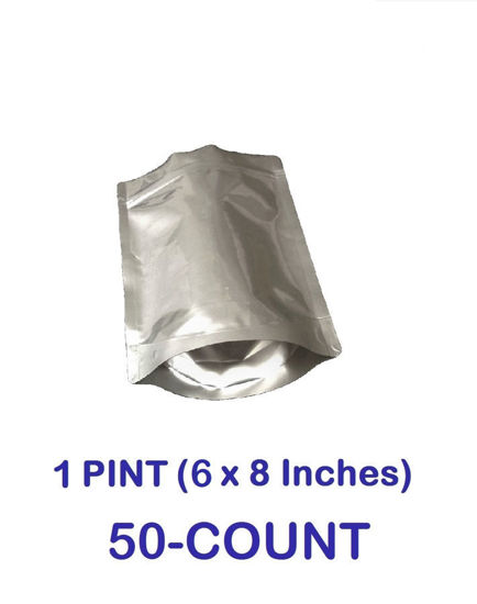 Picture of 1 Pint 7-Mil Gusseted Zip Lock Mylar Bag (50-COUNT)