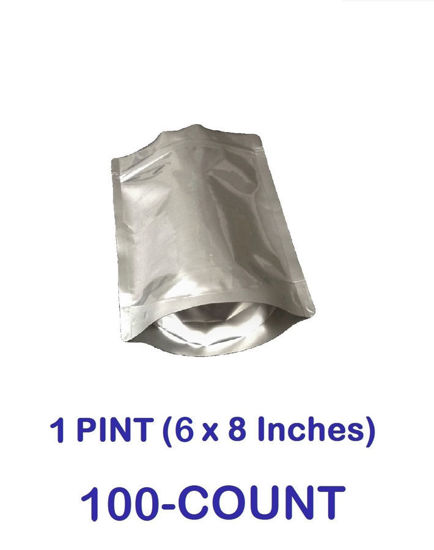 Picture of 1 Pint 7-Mil Gusseted Zip Lock Mylar Bag (100-COUNT)
