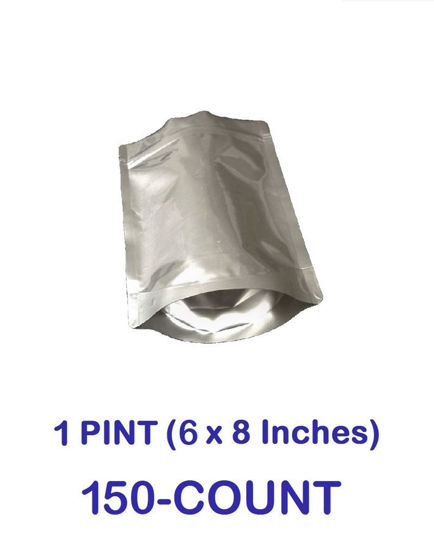 Picture of 1 Pint 7-Mil Gusseted Zip Lock Mylar Bag (150-COUNT)