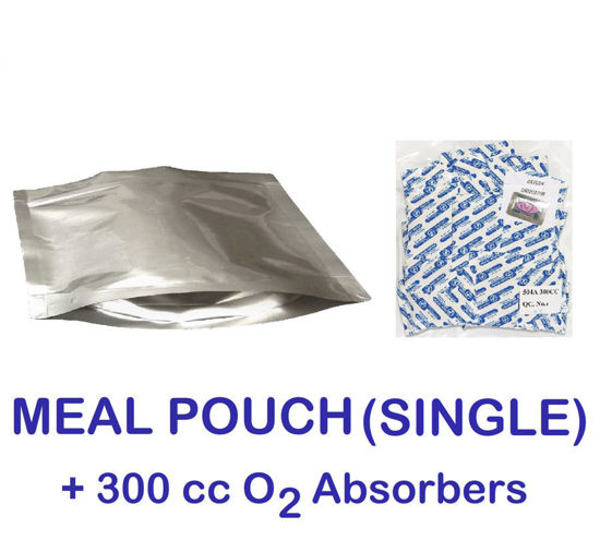 Picture of SINGLE MEAL POUCH 7-Mil Gusseted Zip Lock Mylar Bag plus 300 CC Oxygen Absorbers (50-COUNT)