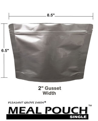 Picture of MEAL POUCH (SINGLE) 7-Mil Gusseted Zip Lock Mylar Bag plus 300 CC Oxygen Absorbers