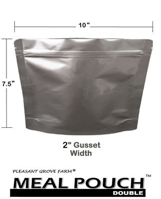 Picture of MEAL POUCH (DOUBLE) 7-Mil Gusseted Zip Lock Mylar Bag plus 300 CC Oxygen Absorbers