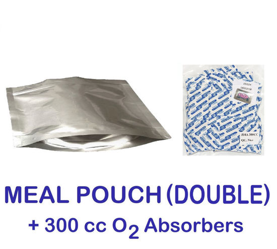 Picture of DOUBLE MEAL POUCH 7-Mil Gusseted Zip Lock Mylar Bag plus 300 CC Oxygen Absorbers (50-COUNT)