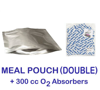 Picture of DOUBLE MEAL POUCH 7-Mil Gusseted Zip Lock Mylar Bag plus 300 CC Oxygen Absorbers (100-COUNT)