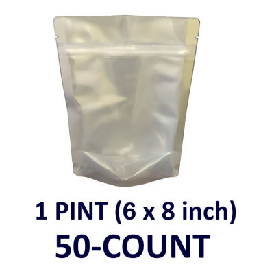 Picture of 1 Pint 7-Mil CLEAR FRONT Gusseted Zip Lock Mylar Bag (50-COUNT)