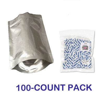 Picture of 1 Pint 7-Mil Gusseted Zip Lock Mylar Bag plus 100 CC Oxygen Absorbers (100-COUNT)
